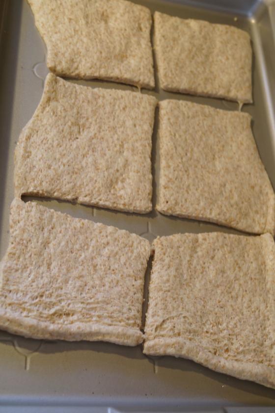 Cut Pizza dough into 6 even squares