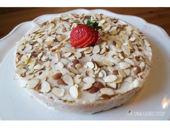Strawberry Almond Cake w/ Almond Frosting