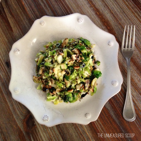 Wilted Brussel Sprout Salad w/ Pine Nuts & Manchego