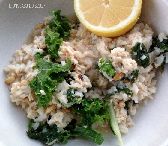 Lemon Chicken & Kale Rice Bowls w/ Toasted Pine Nuts